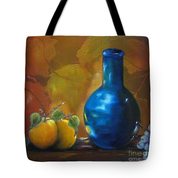 Blue Jug On The Shelf Tote Bag by Carol Sweetwood