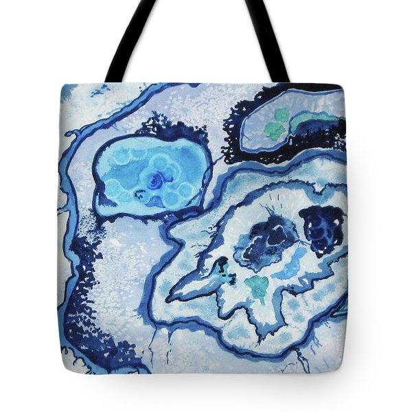 Tote Bag featuring the painting Blue Lace Agate I by Ellen Levinson