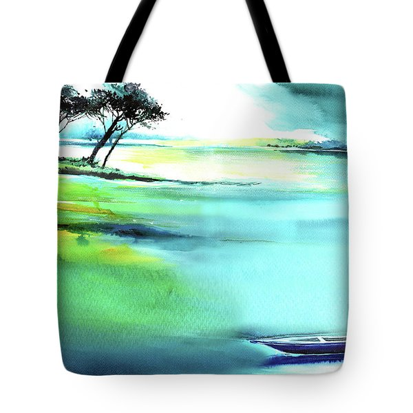Tote Bag featuring the painting Blue Lagoon by Anil Nene