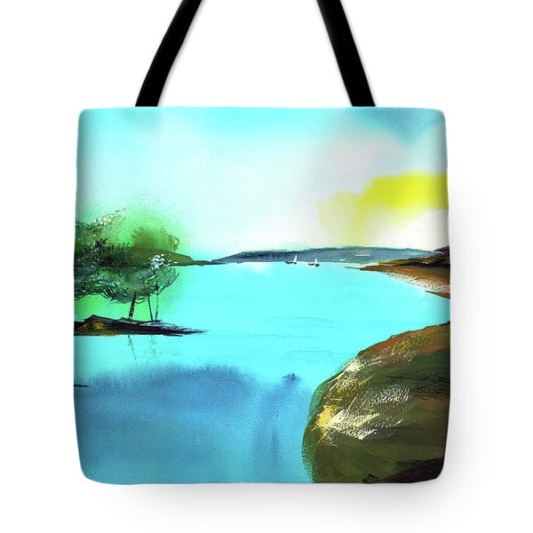 Tote Bag featuring the painting Blue Lake by Anil Nene