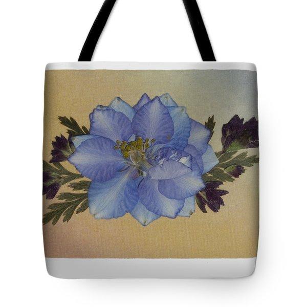 Blue Larkspur And Oregano Pressed Flower Arrangement Tote Bag