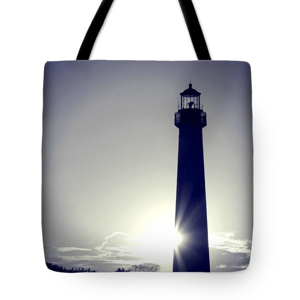 Blue Lighthouse Silhouette Tote Bag