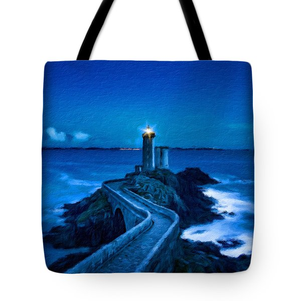 Blue Lighthouse Tote Bag