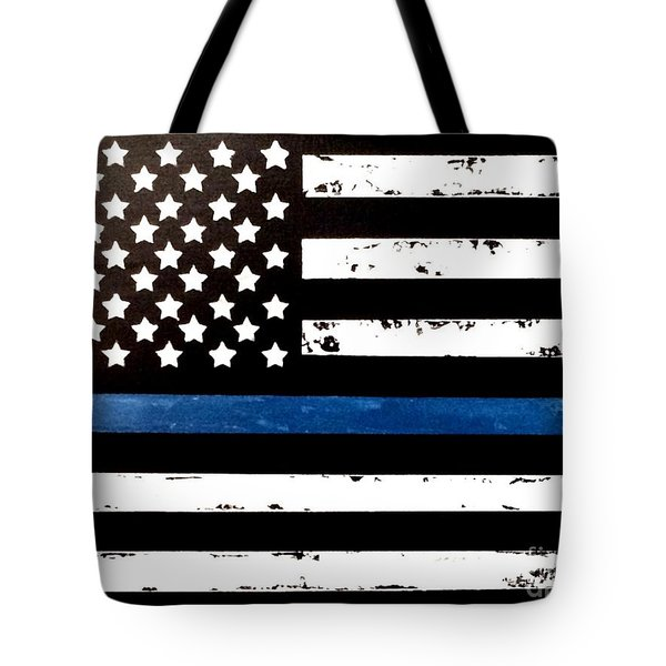 Tote Bag featuring the painting Blue Line Flag by Denise Tomasura