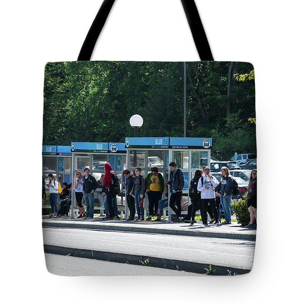 Blue Line On Campus Tote Bag