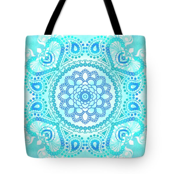 Tote Bag featuring the painting Blue Lotus Mandala by Tammy Wetzel