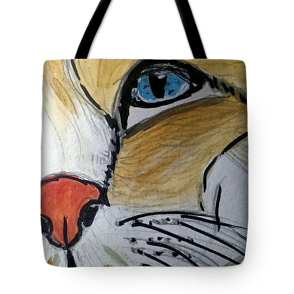 Tote Bag featuring the painting Blue by Lou Belcher