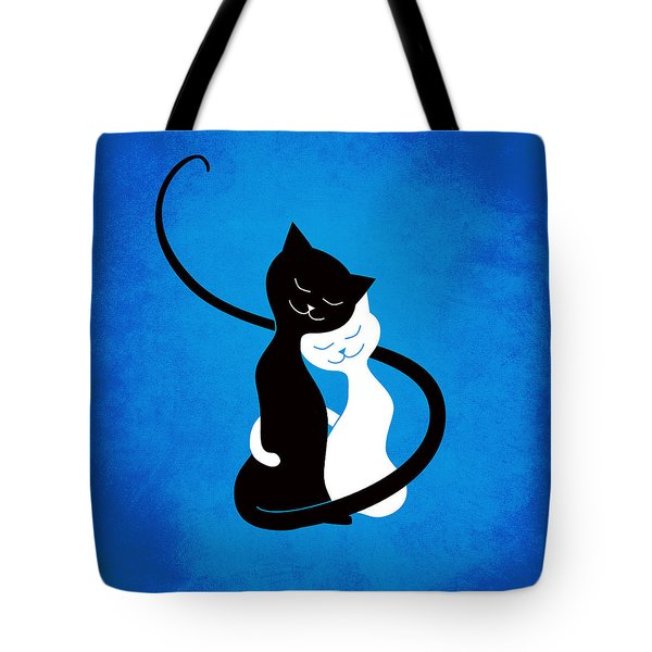 Blue Love Cats Tote Bag