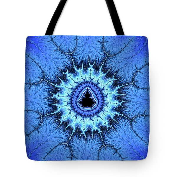 Tote Bag featuring the digital art Blue Mandelbrot Fractal Relaxing And Balanced by Matthias Hauser