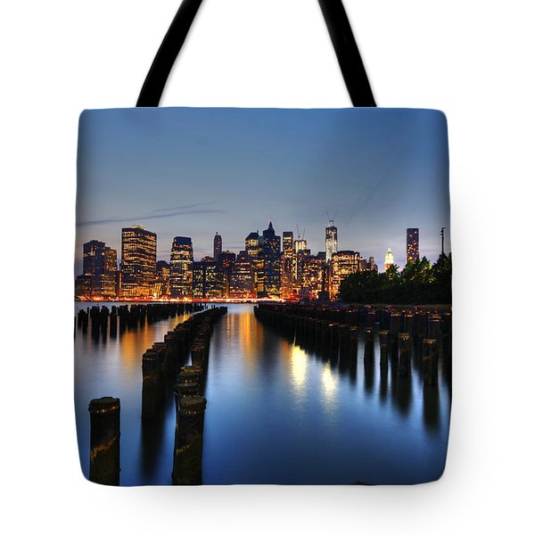 Blue Manhattan Tote Bag by Andrew Paranavitana