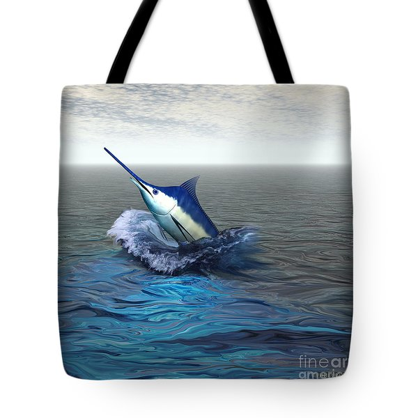 Blue Marlin Tote Bag by Corey Ford