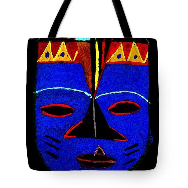Blue Mask Tote Bag by Angela L Walker