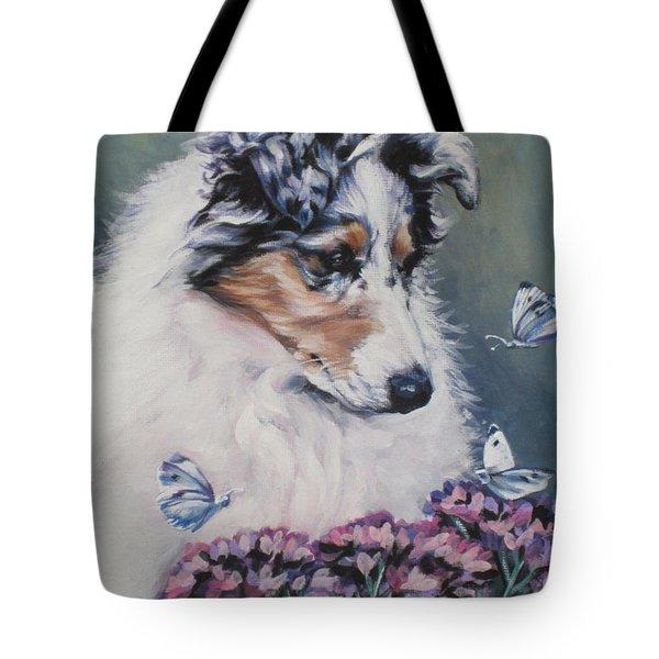Blue Merle Collie Pup Tote Bag by Lee Ann Shepard