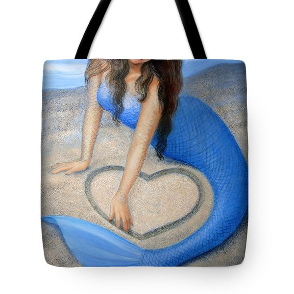 Tote Bag featuring the painting Blue Mermaid's Heart by Sue Halstenberg