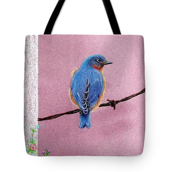 Tote Bag featuring the drawing Blue by Mike Ivey