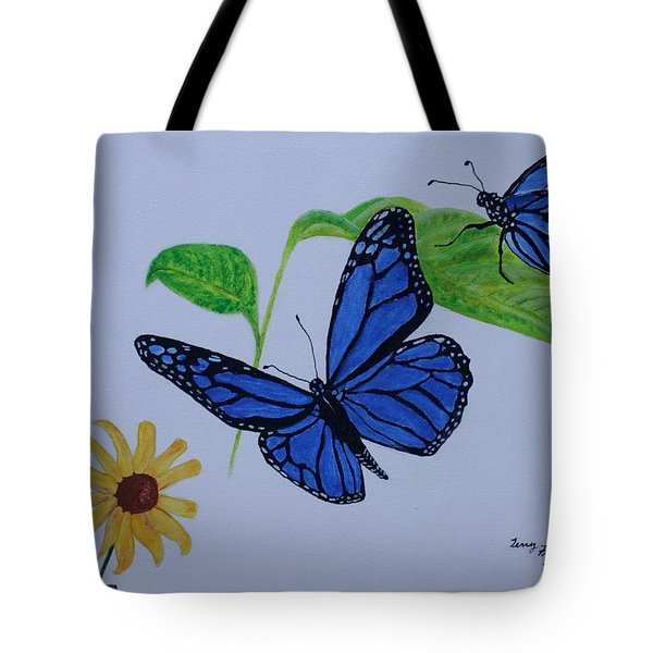 Blue Monarch Tote Bag