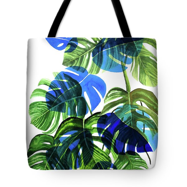 Blue Monstera Tote Bag
