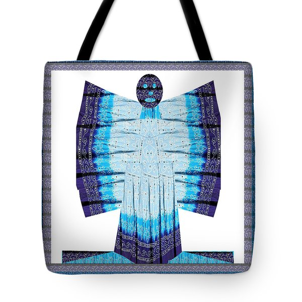 Blue Moon Butterfly Womens Fashion Couture From Jaipur India Cotton Printed Fabric With Embroidary W Tote Bag
