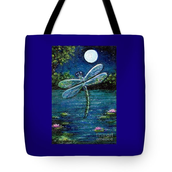 Blue Moon Dragonfly Tote Bag