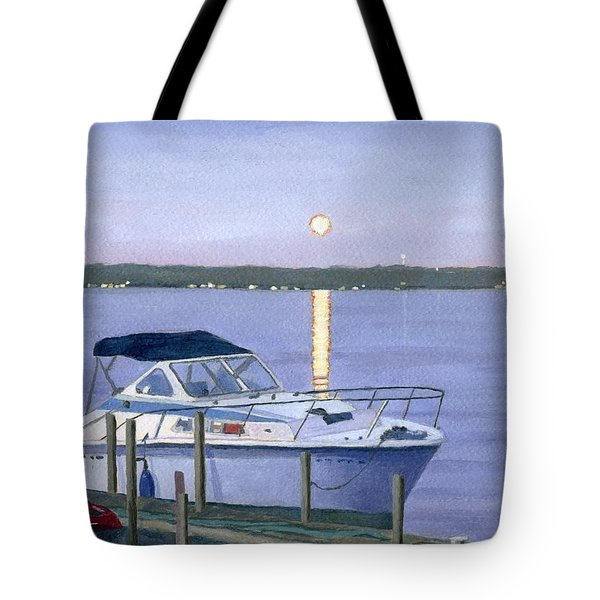 Tote Bag featuring the painting Blue Moon by Lynne Reichhart