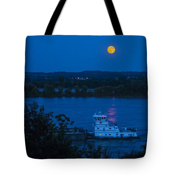 Blue Moon Over The Mississippi River Tote Bag