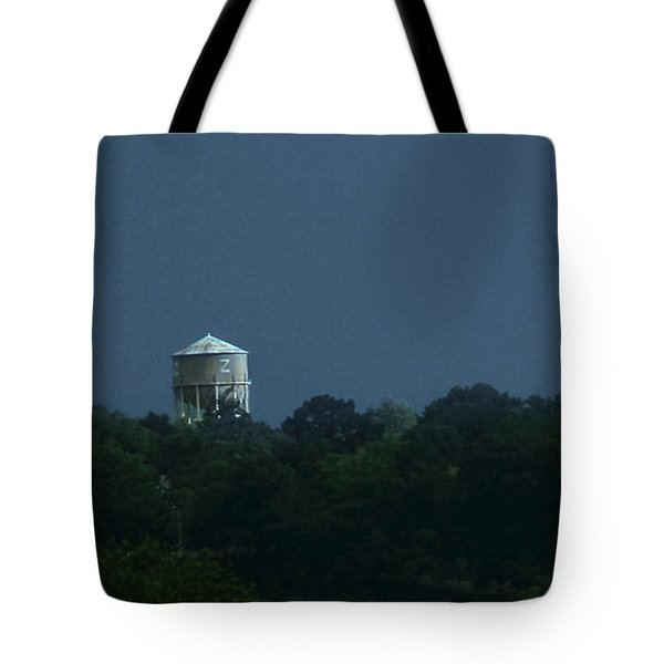 Blue Moon Over Zanesville Water Tower Tote Bag
