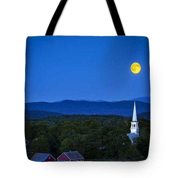 Blue Moon Rising Over Church Steeple Tote Bag