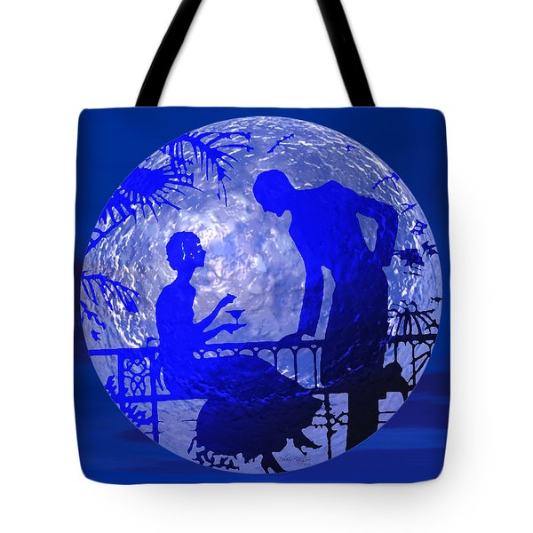 Blue Moonlight Lovers Tote Bag