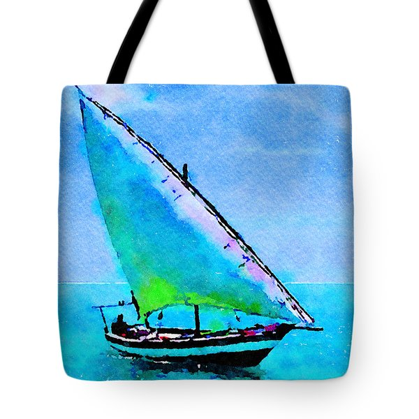 Tote Bag featuring the painting Blue Morning by Angela Treat Lyon