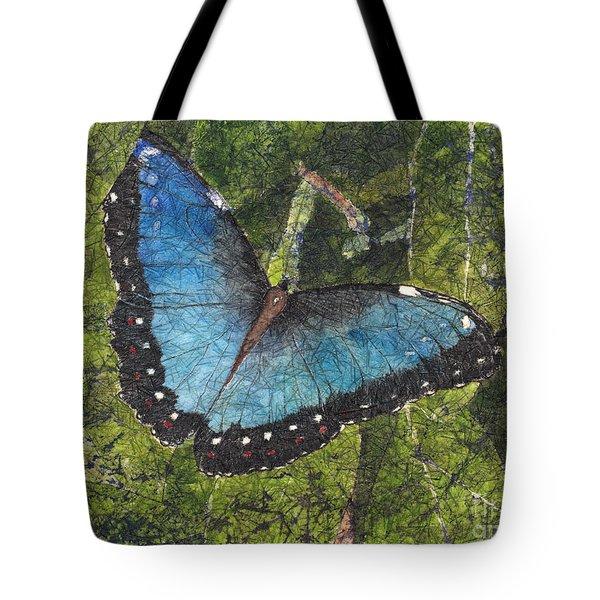 Blue Morpho Butterfly Batik Tote Bag