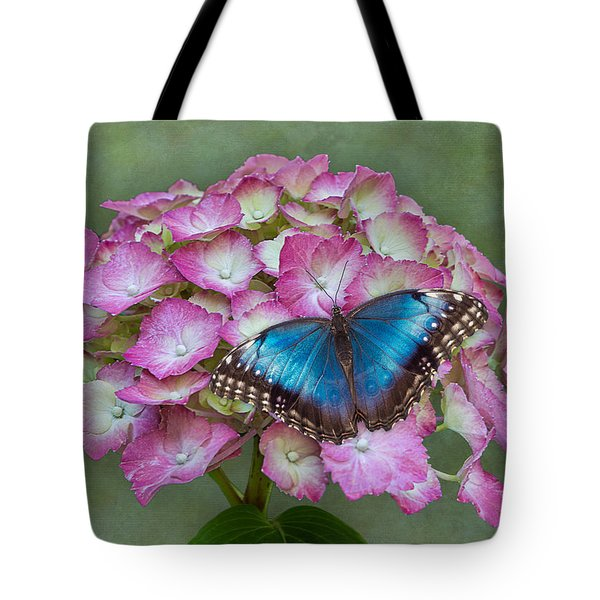 Blue Morpho Butterfly On Pink Hydrangea Tote Bag