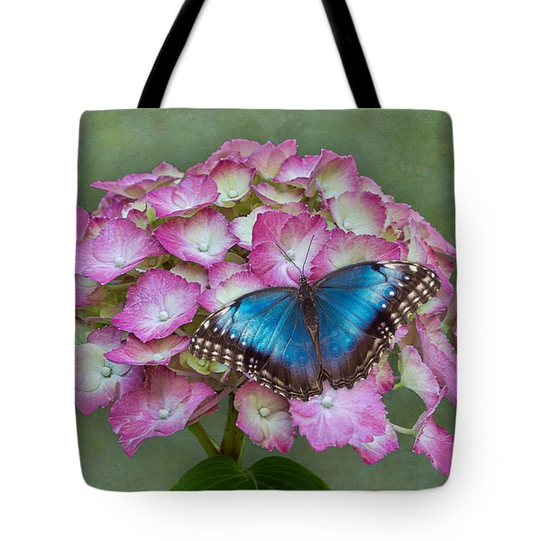Tote Bag featuring the photograph Blue Morpho Butterfly On Pink Hydrangea by Patti Deters