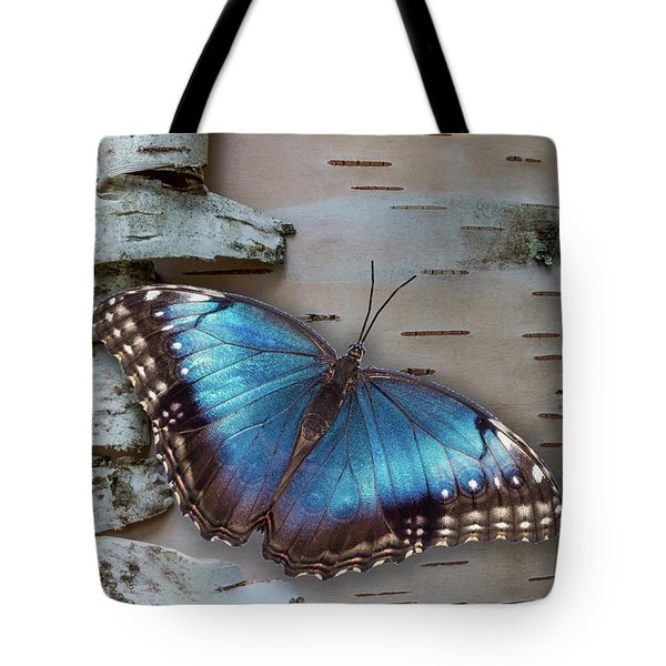 Blue Morpho Butterfly On White Birch Bark Tote Bag by Patti Deters