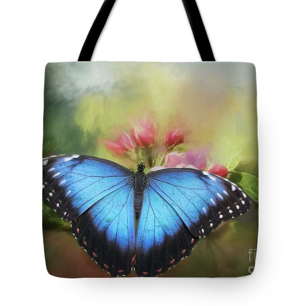 Blue Morpho On A Blossom Tote Bag by Eva Lechner