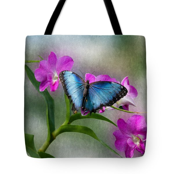 Blue Morpho With Orchids Tote Bag