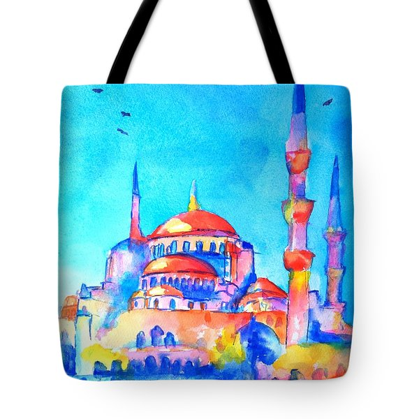 Blue Mosque In Orange Tote Bag