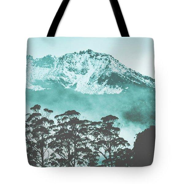 Blue Mountain Winter Landscape Tote Bag