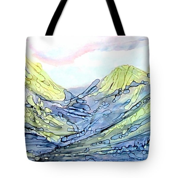 Blue Mountains Alcohol Inks  Tote Bag