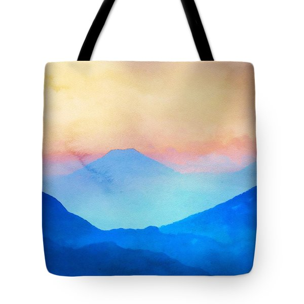 Tote Bag featuring the painting Blue Mountains Watercolour by Mark Taylor