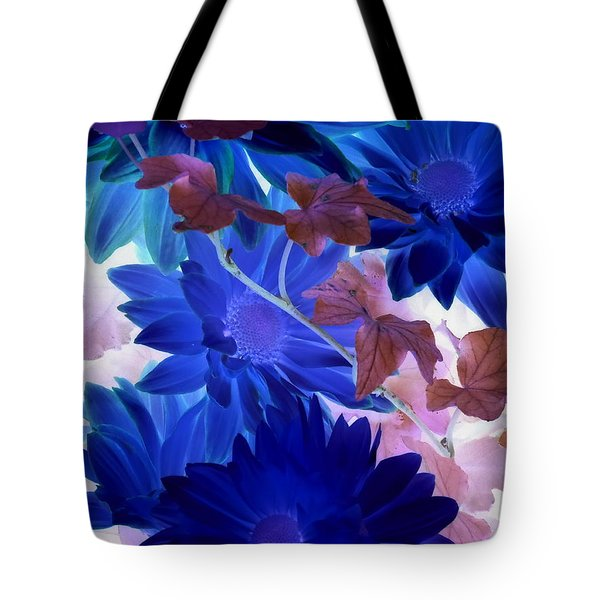 Blue Mums With Purple Ivy Tote Bag