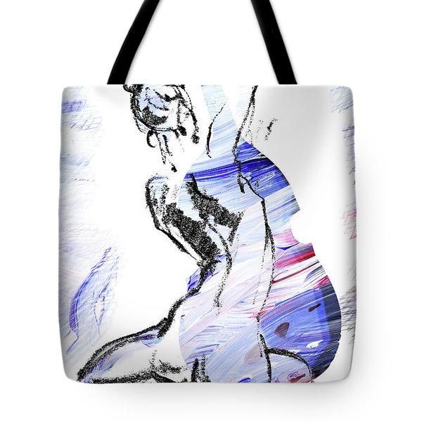 Blue Music Nude Playing Cello Tote Bag
