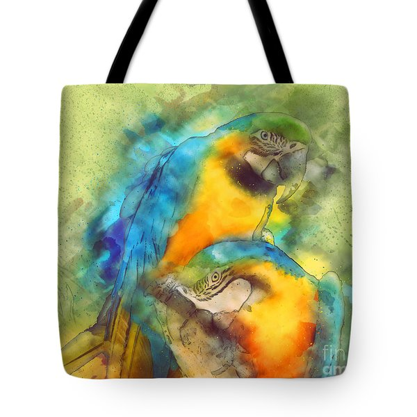 Blue N Gold Macaws Tote Bag by Methune Hively