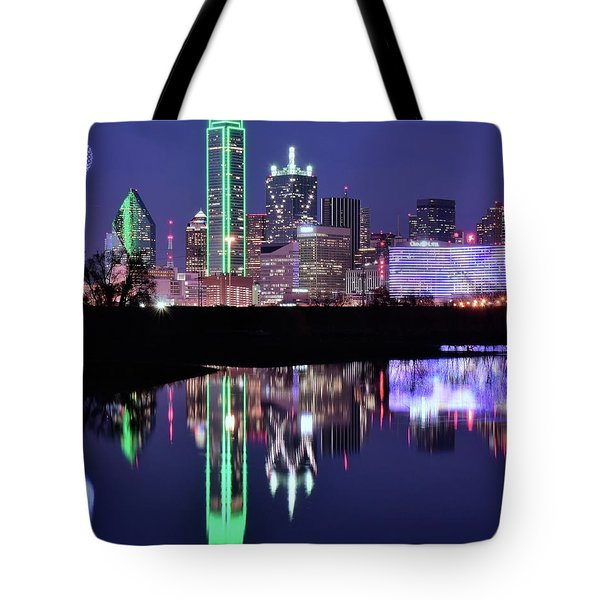 Tote Bag featuring the photograph Blue Night And Reflections In Dallas by Frozen in Time Fine Art Photography
