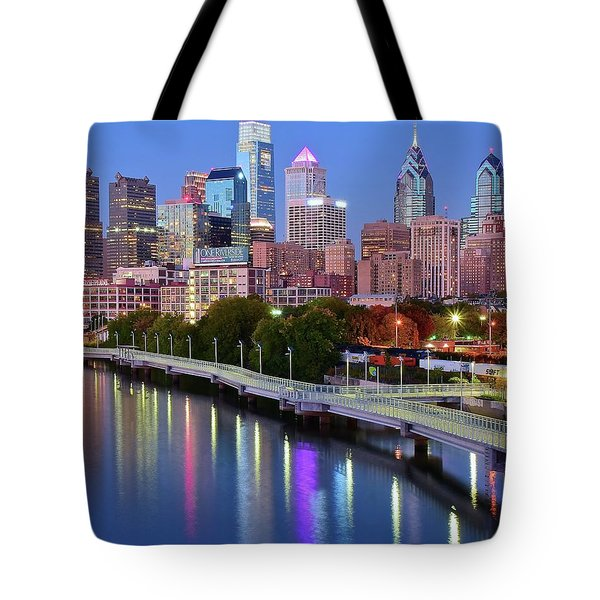 Tote Bag featuring the photograph Blue Night Lights In Philly by Frozen in Time Fine Art Photography