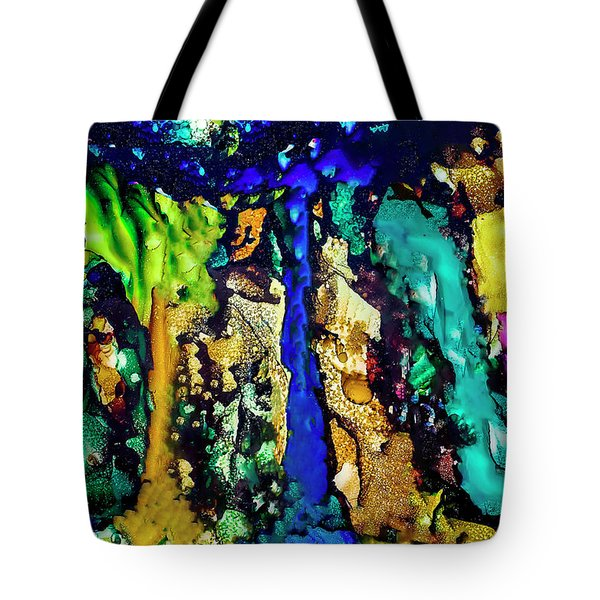 Tote Bag featuring the painting Blue Night Waterfall by Melinda Ledsome