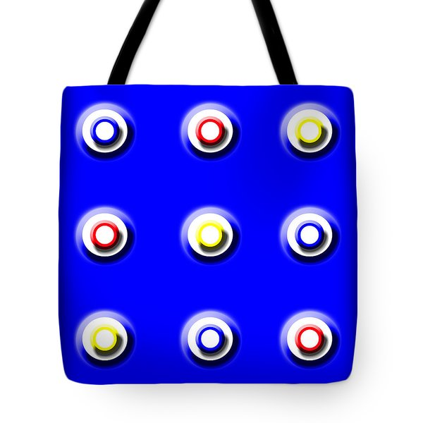 Blue Nine Squared Tote Bag