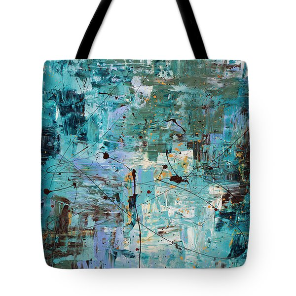 Tote Bag featuring the painting Blue Ocean - Abstract Art by Carmen Guedez