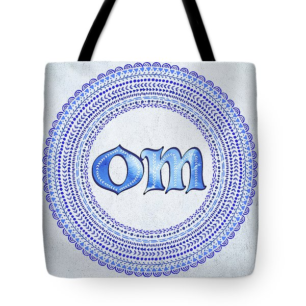 Tote Bag featuring the painting Blue Om Mandala by Tammy Wetzel
