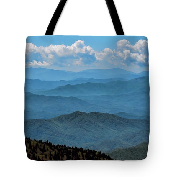 Blue On Blue - Great Smoky Mountains Tote Bag by Nikolyn McDonald