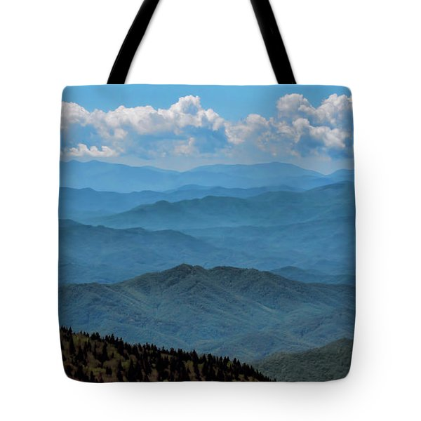 Blue On Blue - Great Smoky Mountains Tote Bag